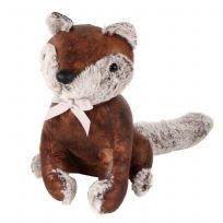 Brown Leather Effect Fluffy Luxury Animal Doorstop - Fox